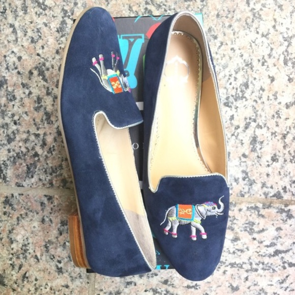 028f9d8237f274 SALE Navy blue suede smoking flats