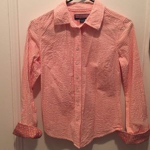 Vineyard Vines Tops - Vineyard Vines peach gingham seersucker shirt