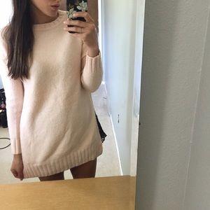 Zara Knit High Slit Sweater in Peach S