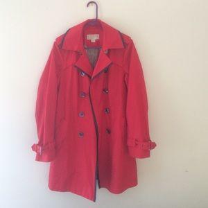 Red Michael Kors trench coat