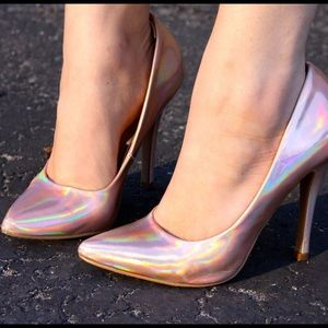Forever 21 Shoes - Rose Gold Holographic Pumps
