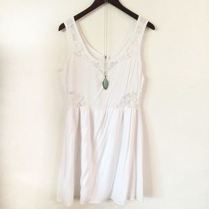 White Lace Cutout Sundress