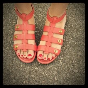 Coach Shoes - Coral leather gladiator sandals