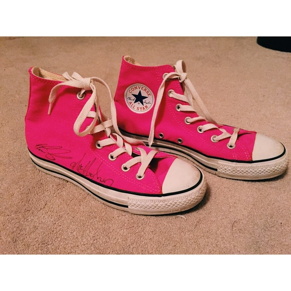 ccf14b3332c Converse Shoes - Hot Pink High Top Converse (signed by Cartel)