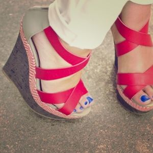 JustFab Shoes - Fun Red Wedges