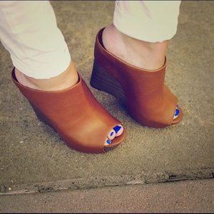 Jessica Simpson Shoes - Cognac Wedge Mules