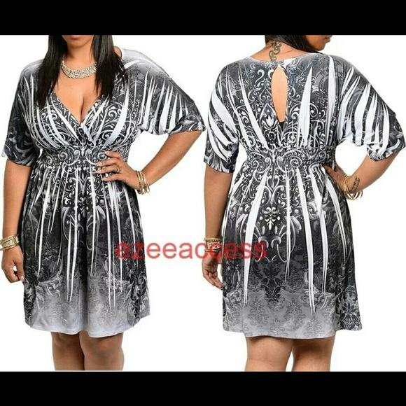 Boutique Dresses Plus Size Dress Kimono Sexy Tattoo Paisleys Print