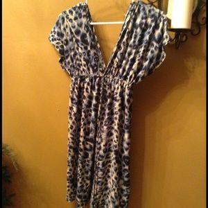 Blue,black,cream swim cover or dress.