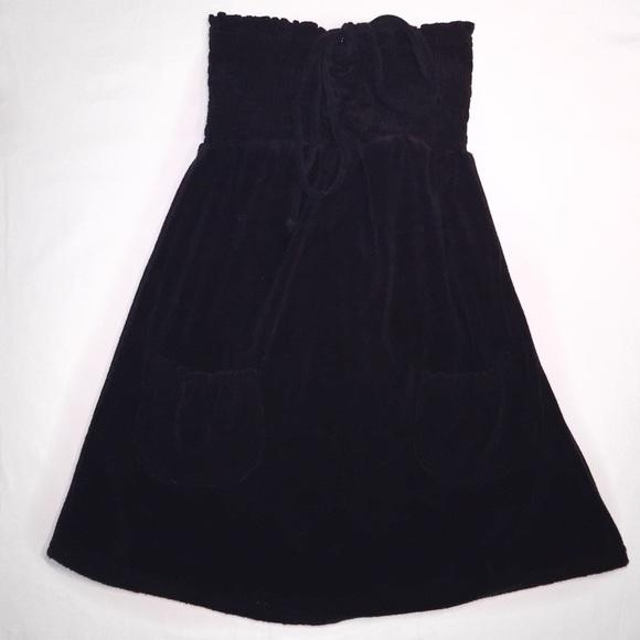 f115dfe5d7e1 Black terry cloth strapless swimsuit coverup. M 55c1c144c402ae0f57025196