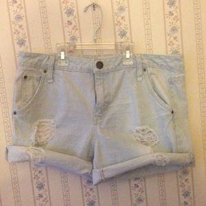 Distressed light blue jean shorts