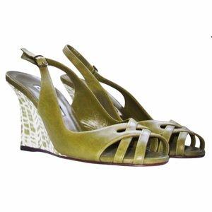Manolo Blahnik Shoes - NEW Manolo Blahnik green Slingback wedge size 6.5