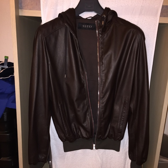 e3ef33c37 Gucci Jackets & Coats | Brown Leather Coat With Hoodie | Poshmark