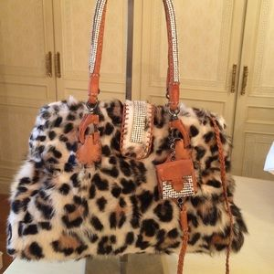 Ermanno Scervino Handbags - Ermanno Scervino Leopard Fur Bag With Crystals