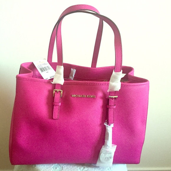 04e7f2858729 Fuschia - Jet Set Travel Saffiano Leather Tote