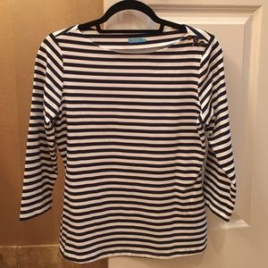 J. McLaughlin Wavesong Boatneck Striped Shirt