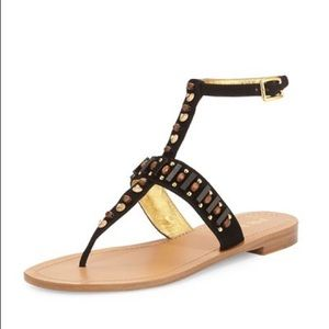 Prada Beaded Leather Black Thong Sandal 10/40 NWT