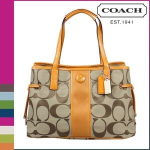 Coach Signature Stripped Carryall Tote