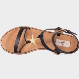 Valentino Shoes - Valentino Black Leather Sea Element Sandals 40/10