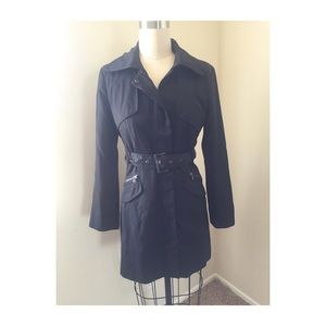 Kenneth Cole black trench jacket size Petite M