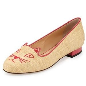 Charlotte Olympia Shoes - Charlotte Olympia Beige Raffia Kitty Flats 10/40