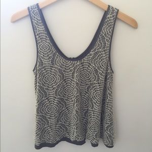Gray and cream lace layers tank