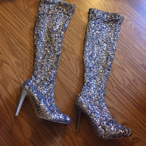84% off Stuart Weitzman Shoes - GLITTER THIGH HIGH BOOTS from ...