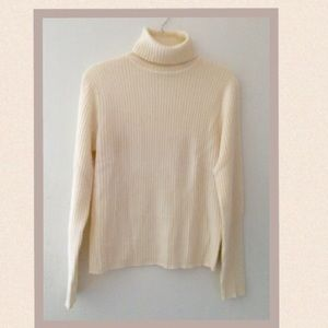VALERIE STEVENS CASHMERE RIBBED TURTLENECK SWEATER