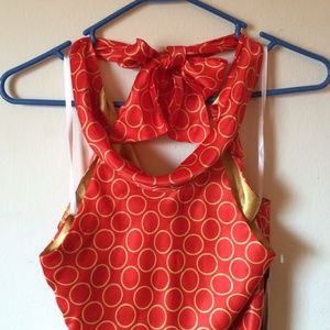 👑 Donna Ricco halter dress 100% Silk Size 4P