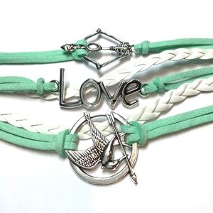  Green white Mockingjay love bow arrow bracelet