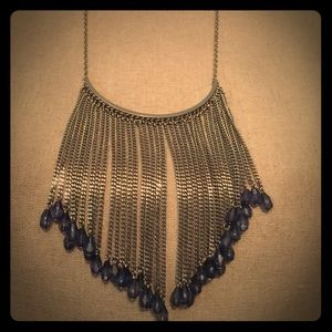 Blue and Silver Bib Necklace