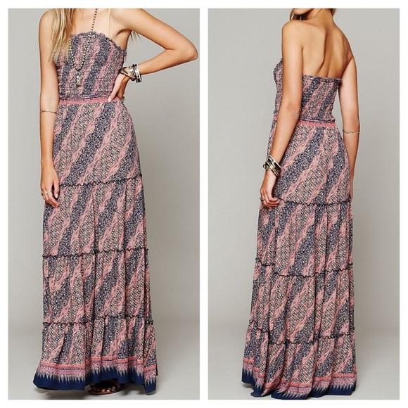 335e4be2780 Free People Dresses   Skirts - FREE PEOPLE Dress Printed Smocked Maxi Tube  Top