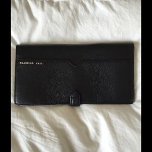 Brand new JCrew black leather travel wallet