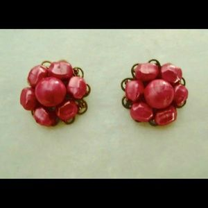 Vintage Hot Pink Clip On Earrings