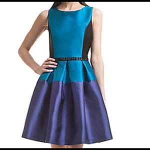 Badgley Mischka color block party dress