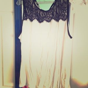 Tops - White  and black lace tank top