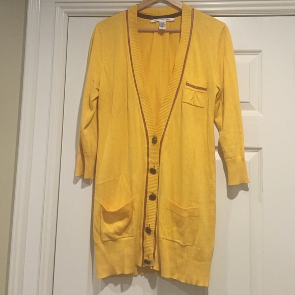 80% off Diane von Furstenberg Sweaters - DVF yellow boyfriend ...