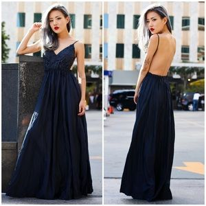 "X ""Moonset"" Backless Lace Maxi Dress"