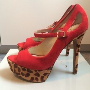 Jessica Simpson Red & Leopard Suede pumps