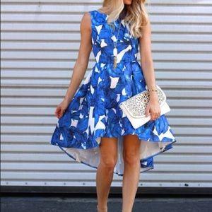 Dresses & Skirts - NWT Blue Sleeveless Leaves Print Dress high low