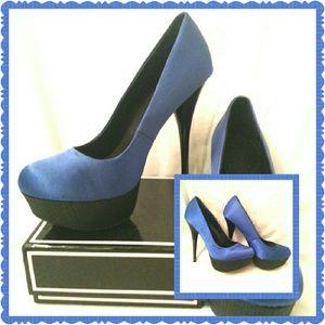 Qupid Blue Satin Platform Heels