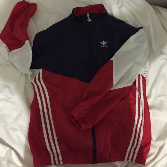 Adidas Adidas Red White And Blue 90 S Windbreaker From