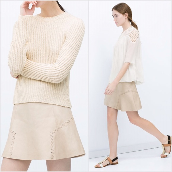 75% off Zara Dresses & Skirts - ZARA 💜 TRF Beige Leather Skirt ...