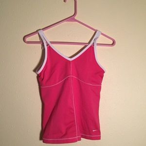 Pink fitted Nike women's workout shirt