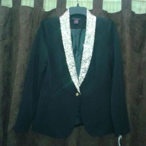 Jackets & Blazers - Black blazer, sequined neck