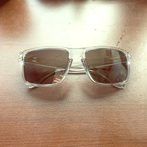 gold oakleys irfu  Oakley Holbrook Sunglasses Crystal Clear