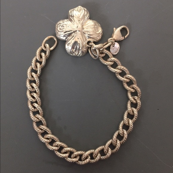 Sterling Silver Dogwood Flower Charm Bracelet
