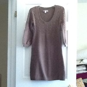 Old Navy Brown knit dress, 3 quarter sleeves.