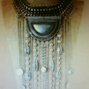 Bohemian silvertone bib necklace