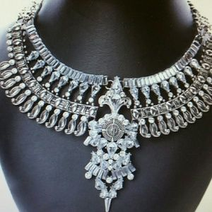 Bohemian silver tone bib statement necklace