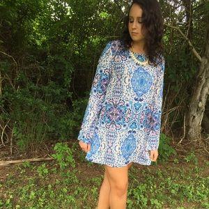Blue & Nude Bell Sleeve Dress